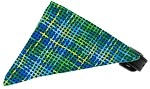 Blue Party Plaid Bandana Pet Collar Black Size 10