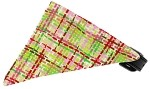 Lime and Pink Party Plaid Bandana Pet Collar Black Size 10