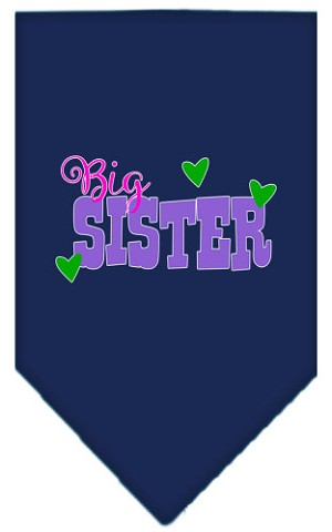 Big Sister Screen Print Bandana Navy Blue large