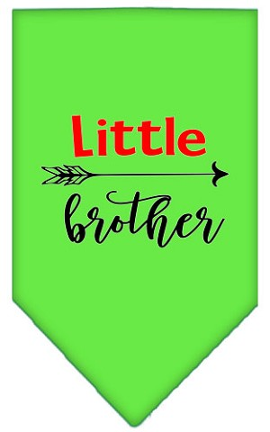 Little Brother Screen Print Bandana Lime Green Small