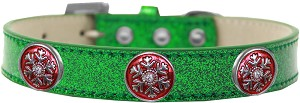 Ruby Red Snowflake Halo Dog Collar Emerald Green Ice Cream Size 14