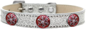 Ruby Red Snowflake Halo Dog Collar Silver Ice Cream Size 14