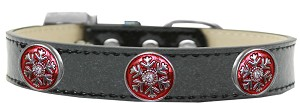 Ruby Red Snowflake Halo Dog Collar Black Ice Cream Size 16