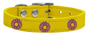 Pink Daisy Widget Genuine Leather Dog Collar Yellow 26