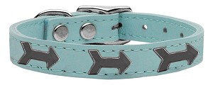 Arrow Widget Genuine Leather Dog Collar Baby Blue 18