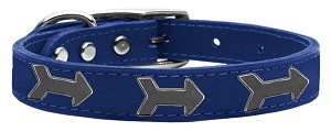 Arrow Widget Genuine Leather Dog Collar Blue 24