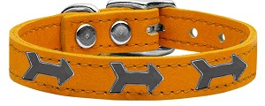 Arrow Widget Genuine Leather Dog Collar Mandarin 22