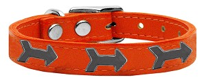 Arrow Widget Genuine Leather Dog Collar Orange 22