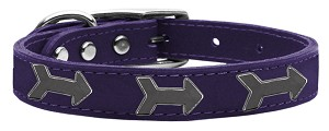 Arrow Widget Genuine Leather Dog Collar Purple 18