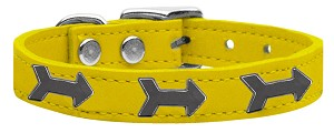 Arrow Widget Genuine Leather Dog Collar Yellow 12
