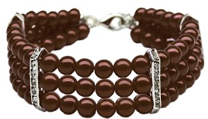Three Row Pearl Necklace Chocolate Md
