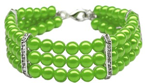 Three Row Pearl Necklace Lime Green Md