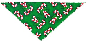 Candy Cane Tie-On Pet Bandana Size Small