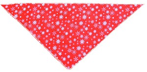 Red Snowflake Tie-On Pet Bandana Size Small