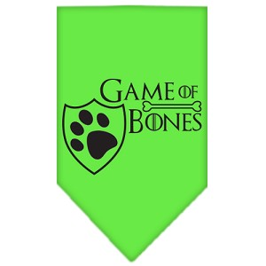 Game of Bones Screen Print Bandana Lime Green Small