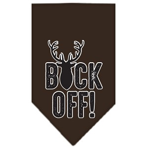Buck Off Screen Print Bandana Brown Large