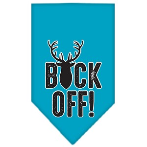 Buck Off Screen Print Bandana Turquoise Small