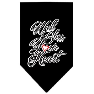 Well Bless Your Heart Screen Print Bandana Black Small