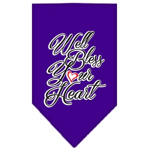 Well Bless Your Heart Screen Print Bandana Purple Large