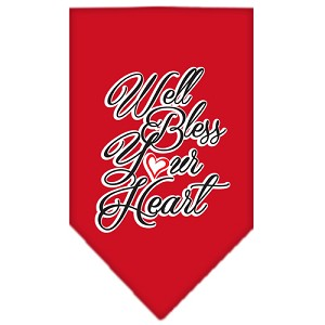 Well Bless Your Heart Screen Print Bandana Red Large