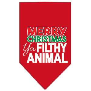 Ya Filthy Animal Screen Print Pet Bandana Red Size Small