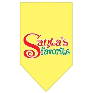 Santas Favorite Screen Print Pet Bandana Yellow Size Small