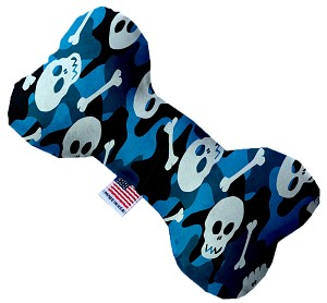 Blue Camo Skulls 8 Inch Bone Dog Toy