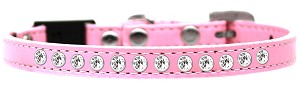 Clear Jewel Breakaway Cat Collar Light Pink Size 12
