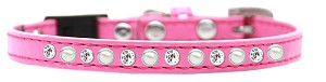 Pearl and Clear Jewel Breakaway Cat Collar Bright Pink Size 12