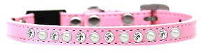 Pearl and Clear Jewel Breakaway Cat Collar Light Pink Size 12