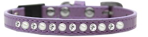 Pearl and Clear Jewel Breakaway Cat Collar Lavender Size 12