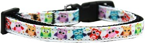 Bright Owls Nylon Ribbon Dog Collar XS