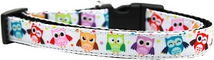 Bright Owls Nylon Ribbon Dog Collar Medium Narrow