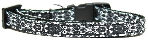 Fancy Black and White Nylon Ribbon Dog Collar XS