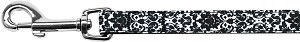 Fancy Black and White Nylon Ribbon Pet Leash 5/8 inch wide 4Ft Lsh