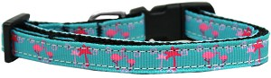 Pink Flamingos Nylon Ribbon Cat Safety Collar
