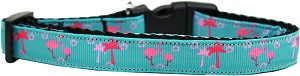 Pink Flamingos Nylon Ribbon Dog Collar Medium Narrow