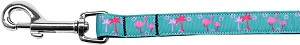 Pink Flamingos Nylon Ribbon Pet Leash 5/8 inch wide 4Ft Lsh