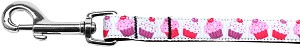 Pink and Purple Cupcakes Nylon Ribbon Pet Leash 5/8 inch wide 4Ft Lsh