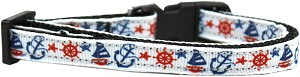 Anchors Away Nylon Ribbon Dog Collar Sm