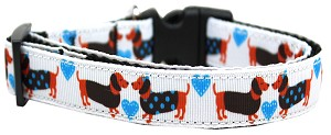 Doxie Love Nylon Ribbon Dog Collar XL