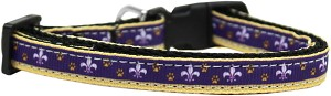 Purple and Yellow Fleur de Lis Nylon Ribbon Dog Collar XS