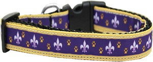 Purple and Yellow Fleur de Lis Nylon Ribbon Dog Collar XL