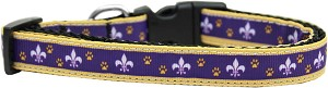 Purple and Yellow Fleur de Lis Nylon Ribbon Dog Collar Medium Narrow