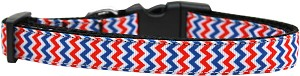 Patriotic Chevrons Nylon Ribbon Dog Collar Medium Narrow
