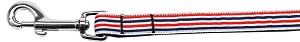 Patriotic Stripes Nylon Ribbon Pet Leash 5/8 inch wide 4Ft Lsh