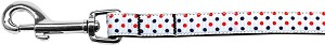 Patriotic Polka Dots Nylon Ribbon Pet Leash 5/8 inch wide 6Ft Lsh