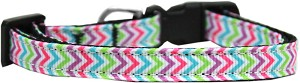 Summer Chevrons Nylon Ribbon Dog Collar Sm
