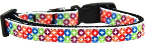 Bright Diamonds Nylon Ribbon Dog Collar Sm