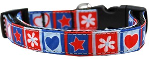 Stars and Hearts Nylon Dog Collar MD